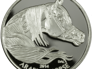 Year of the Horse Silver Coin round - Equus 2014 Horse, obverse side