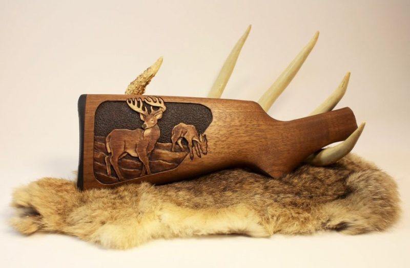 Roger Wolford gun stock carving - White Tail deer